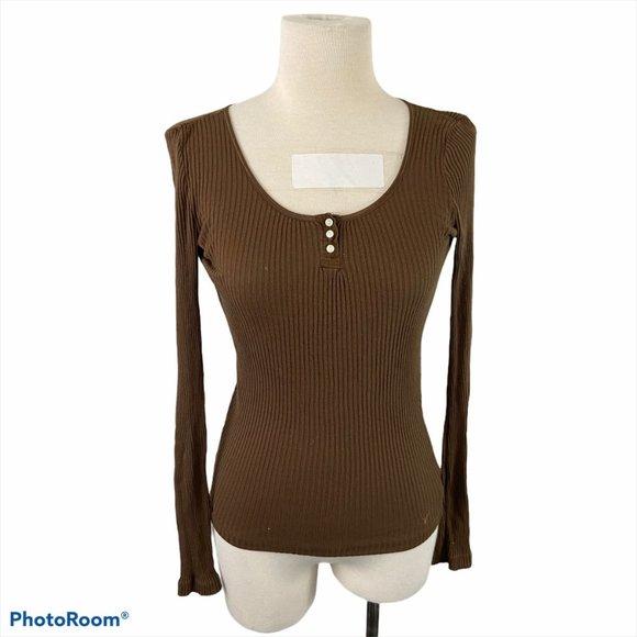 AMERICAN EAGLE Brown Long Sleeve Crew Neck Shirt